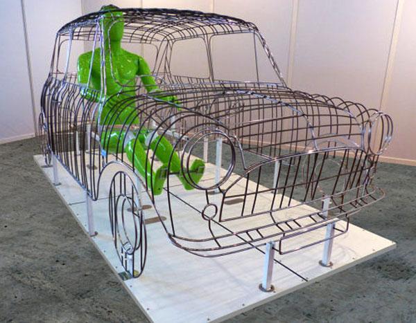 sculpture Austin Mini en métal - vue avant
