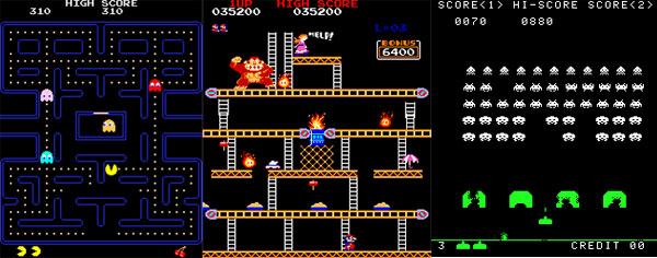 Plein de jeux : PacMan, Donkey-Kong, Space-inviders...