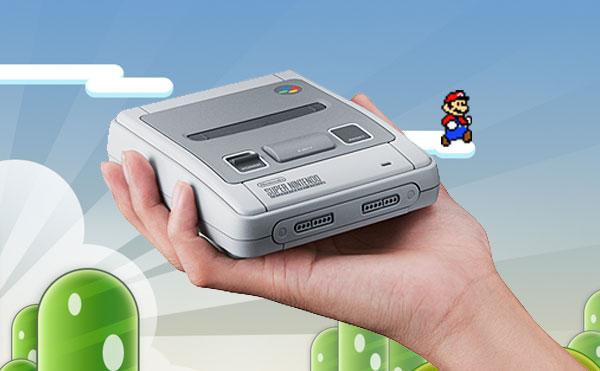 Super Nes mini dans la main avec fond Mario