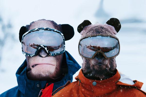 2 cagoules passe-montagne animalier singe et ours